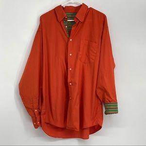 Men Bugatchi Uomo Size XL Orange Button Down Shirt